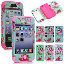 Peony Flower Skin Soft Hybrid Hard Combo Heavy Duty Matte Case Cover For iPhone