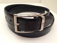 Tommy Hilfiger Men's Belt Black Leather Silver Buckle Sz 32 34 36 38 40 42