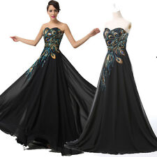 Grace Karin Long Chiffon Peacock Inspired Formal Prom Dresses Black Event Gown 1