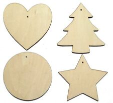 Wooden Craft Shapes / Hanging Wood Tags Heart, Star, Circle, Christmas Tree