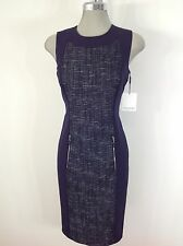 Calvin Klein NWT Indigo Blue and Lurex  with front Silver zippers pockets
