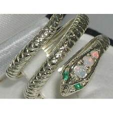 Hallmarked Solid Sterling Silver Natural Fiery Opal & Emerald Snake Serpant Ring