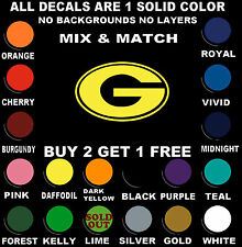 """GREEN BAY PACKERS 7.2""""W x 4.5""""H VINYL DECAL STICKER BUY 2 GET 1 FREE"""
