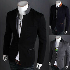 Stand-up Collar Stylish Mens One Button Suit Blazer casual clothes Jacket LCJ