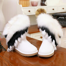 CAUSAL WINTER GLITTER FLAT HEELS REMOVABLE FUR TRIM ROUND TOE ANKLE SNOW BOOTS