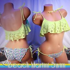 VICTORIA'S SECRET PINK Laser Cut Daisy Flounce Crop Top and Side Tie Bottom - XS