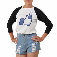 Facebook Icons Thumbs Up 100% Cotton Slim Fit Women Baseball Raglan T-shirt