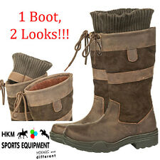 HKM ADULT WATERPROOF SOLE 3/4 SHORT LEATHER STABLE RIDING COUNTRY BOOT SIZE 3-10