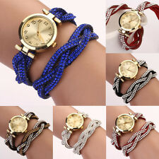 Women's Dial Crystal Band Sparkling Wave Bracelet Analog Quartz Wrap Wrist Watch