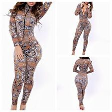 Hot Sexy Womens Zipper Retro Printed Stretch Bodycon Rompers Jumpsuits Clubwear