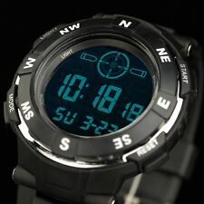 U.S INFANTRY Mens Sport Army Quartz Digital Wrist Watch Black Rubber Waterproof