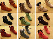 New Fashion Women Girls Lace Up Winter Boots Flat Ankle shoes Casual Shoes LCJ