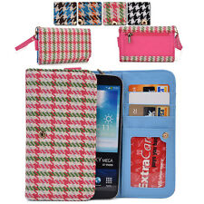 Kroo Woman-s Houndstooth Patterned Wallet Clutch Cover X6|A fits Mobile Phone