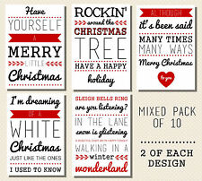 10 x QUALITY CHRISTMAS CARDS - RETRO VINTAGE LYRICS - WHITE/BUFF MIXED PACK A6
