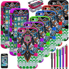 Hybrid High Impact Hard Case Cover Temple For Apple Iphone 5 5S Silicone + Film