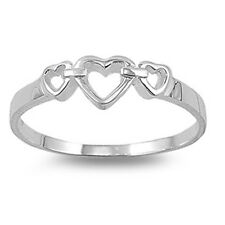 Sterling Silver Triple Hearts Ring Romantic Love Commitment Band Solid 925 Italy