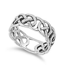 Sterling Silver Woman's Men's Infinity Celtic Knot Ring Wedding Comfort Band 8mm
