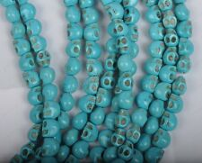 50/100Pcs 6X8MM blue Turquoise skull Day of the Dead Spacer Beads diy findings