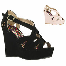 New Qupid Womens High Heel Open Toe Strappy Platform Wedge Sandal Clemence-85-30