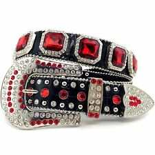 New Limited Red Edition Western Red Square Concho Rhinestone Black Leather Belt