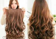 Women's One Piece Long Big Wave Hair Extension Five Clips Clip-on Five Color