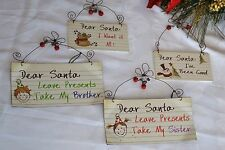 shabby chic merry christmas garland red & white wooden decoration bargain price