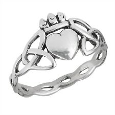 Sterling Silver Claddagh Heart-Crown Ring w Surrounding Celtic Knots Size 5-9