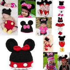 1 Set Baby Mouse Beanie Crochet Knit Hat Outfits Photo Prop Cap Jumpsuit 3-24M