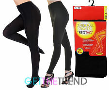 Ladies Thick THERMAL RED TAG Footless Tights Black Winter Full Length Tights New