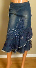 BLUE DENIM WEST 36TH JEANS BOHO SKIRT GLITTER LACED BEADED FLOWERS SIZE 3326
