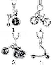 Sterling Silver Tricycle Charm Little Kids Bikes and Scooter Pendants Wholesale