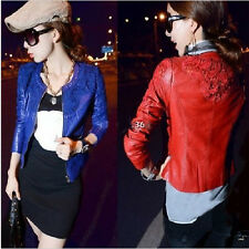 New Fashion Womens Winter Lace Artificial Leather Crochet Outerwear Coat Jacket