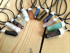 CRYSTAL GEMSTONE POINT PENDANT NECKLACE NEW AGE HEALING REIKI PAGAN WICCA