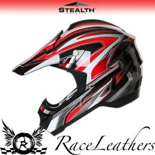 STEALTH HD203 EDGE RED MX MOTOCROSS ROAD LEGAL OFF ROAD MOTORCYCLE HELMET CHEAP