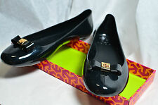 New In Box Tory Burch Black Jelly Plastic Bow Ballet Flat Shoe 51128270