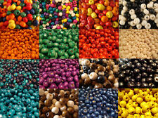 WOODEN ROUND WOOD BEADS 200 x 8MM 100 x 10MM MANY COLOURS