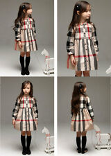 4669 GIRLS Kid's Clothes Classic Plaid Belted Long Sleeve Dress Outerwear coat