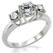Ladies New Silver Stainless Steel CZ Trio Engagement Anniversary Ring Sizes 5-10