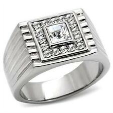New Stainless Steel Square Men's Crystal Ring - Sizes 8 -13