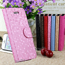 Diamond Pattern Leather Flip Wallet Case for iPhone 4S 5S / Samsung Galaxy S3 S4