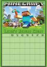 Personalised Minecraft Reward Chart - Dry Wipe Pen, Magnetic Strip, FREE POST