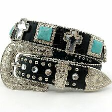 Premium Black Croc Leather Turquoise Concho and Cross Rhinestone Buckle Belt