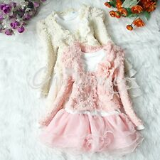 Girl Xmas Outfit Jacket Coat + Tutu Top Dress Toddler Party Pageant Clothes 3-6T