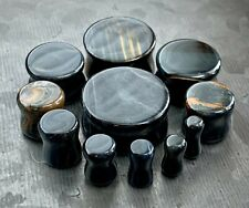 PAIR Blue Tiger Eye Organic Stone Plugs Gauges - up to 25mm available!