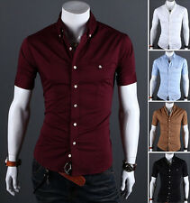 Men Luxury Casual Slim fit Stylish Short Sleeves Dress Shirt LCJ