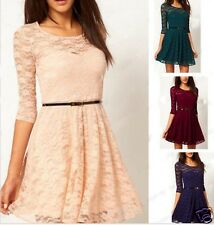 Sexy Lady Spoon Neck 3/4 Sleeve Lace Dress with Belt 4 COLORS 3 SIZE