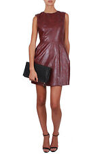 LUNA LEATHER DRESS by Miss Moncur | red burgandy faux leather round neck sleevel