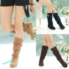 Fashion Autumn Winter Womens Boots Lace Cuff Increased Internal Woolen Shoes