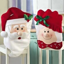 Mr & Mrs Santa Claus Hat Chair Back Cover For Xmas Party Home Table Decoration