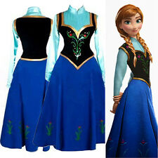2014 FROZEN Princess Anna Party Maxi Dress Skirt Adult Women Cosplay Costume gen